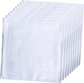 LACS Men's Solid White Cotton Handkerchiefs Pack
