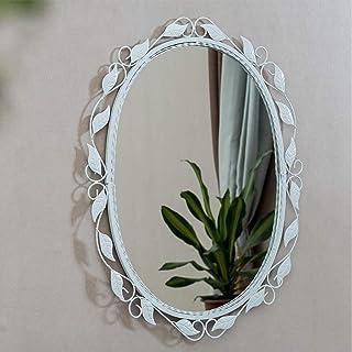 Daily Necessities Retro Iron Simple Decorative Mirror Makeup Mirror Bathroom Mirror Entrance Mirror (Color : White, Size : 70cm×55cm) (Color : White, Size : 45cm×60cm)