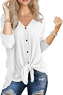 Womens Waffle Knit Tunic Blouse Long Sleeve V Neck Button Down T Shirts Tie Front Tops