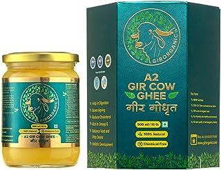 GirOrganic A2 Pure Ghee | 100% Desi Gir Cow | Vedic Bilona Method | 500 ml Glass Bottle | Grassfed, Cultured, Premium & Tr...