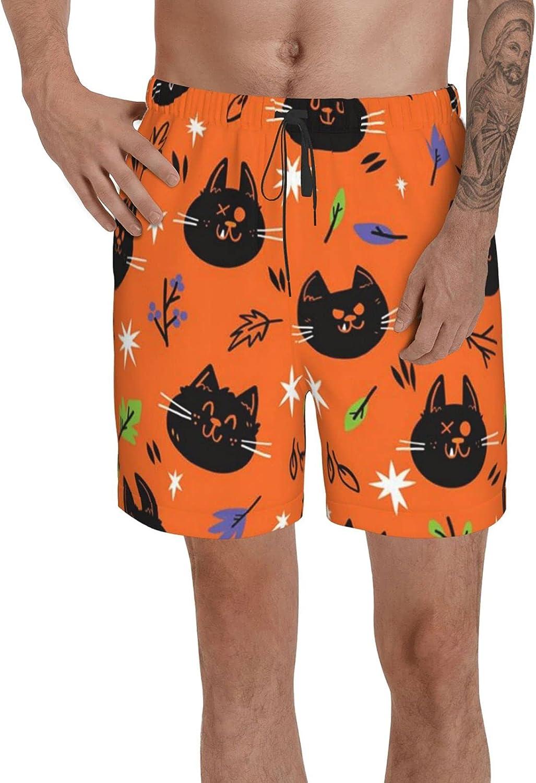 Mens Cartoon Black Cat Swim Trunks Beach Surf Board Shorts Quick Dry Mesh Lining