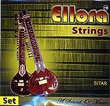 """""""Sitar Strings German Rosellu"""" Ellora Vilayat Khani Style Complete Set of 6 main and 13 sympathetic strings 1st steel MA / F# #3 - gauge 0.012 inch (Baaj), 2nd bronze SA / C# #4 - gauge 0.016 inch (Jod) 3rd steel MA / F# #3 - gauge 0.012 inch (Gandha..."""