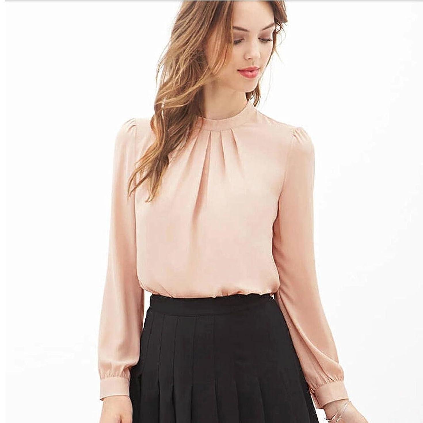 Hemlock Office Chiffon Shirts Women Long Sleeves Tops Shirts O-Neck Spring Blouse (S, Pink)