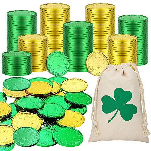 200 Pieces St. Patrick's Day Shamrock Coins 3-Leaf Clover Good Luck Coins Green and Gold Coins Plastic Table Sprinkles with Shamrocks Drawstring Bag for Party Supplies