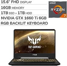 ASUS TUF Gaming 2019 15.6'' FHD Laptop Notebook Computer, AMD Ryzen 7 R7-3750H 2.3GHz, GTX 1660 Ti 6GB Graphics, 16GB RAM, 1TB SSD, 1TB HDD,RGB Backlit Keyboard,Wi-Fi,Bluetooth, Webcam,HDMI,Win 10