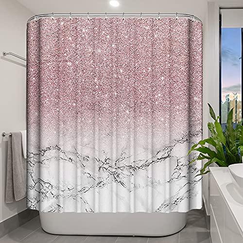 Nitwy Duschvorhang Marmor Pink Glänzend (kein Glitzer) Badezimmer Vorhang mit 12 Haken, Durable Wasserdicht Polyester Modern Bad Duschvorhang für Mädchen Frauen, 182 x 182 cm