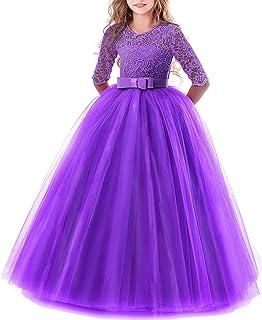 491ba9f718e IWEMEK Enfants Fille Robe de Carnaval Princesse Longue en Dentelle avec  Bowknot Demoiselle d honneur
