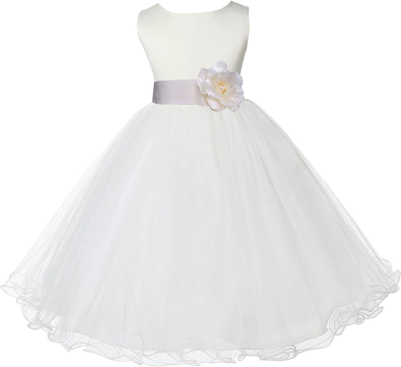 ekidsbridal Ivory Tulle Rattail Edge Flower Girl Dress Wedding Tulle 829S
