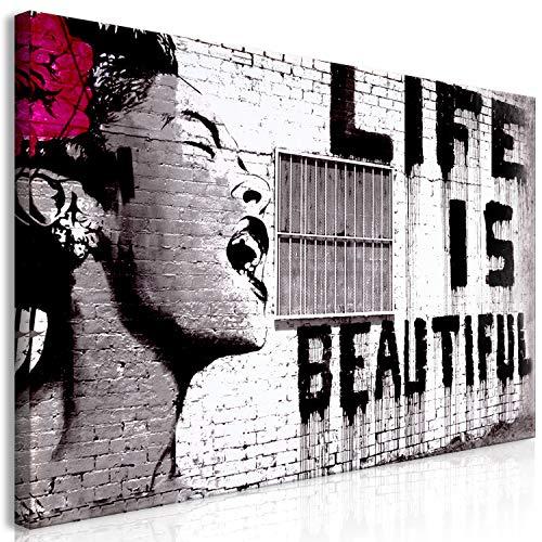 murando Cuadro Mega XXXL Banksy 200x100 cm Cuadro en Lienzo en Tamano XXL Estampado Grande Gigante Imagen para Montar por uno Mismo Decoración De Pared Impresión DIY Life is Beautiful i-C-0114-ak-e