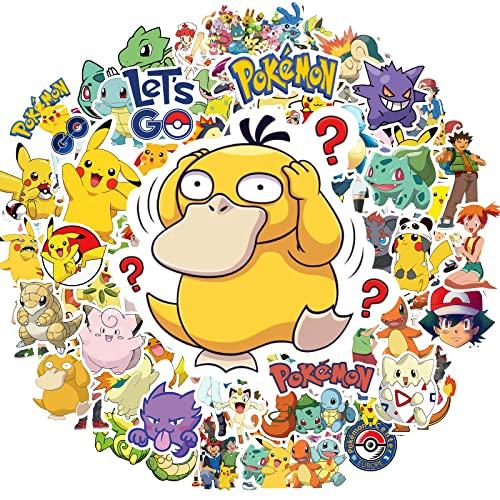 Pokemon Anime Stickers, 100PCS Cute Pikachu Vinyl Waterproof Decals for Hydroflask Water Bottles, Laptop, Skateboard, Luggage, Phone, Ideal Birthday Gift for Kids Teens