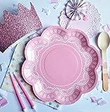 20 Elegante Papier-Servietten mit Weißem Spitzen-Perlen-Muster in Rosa - 2