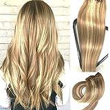 Myfashionhair Clip en extensiones de cabello humano real 20 en 7 piezas Extensiones de...