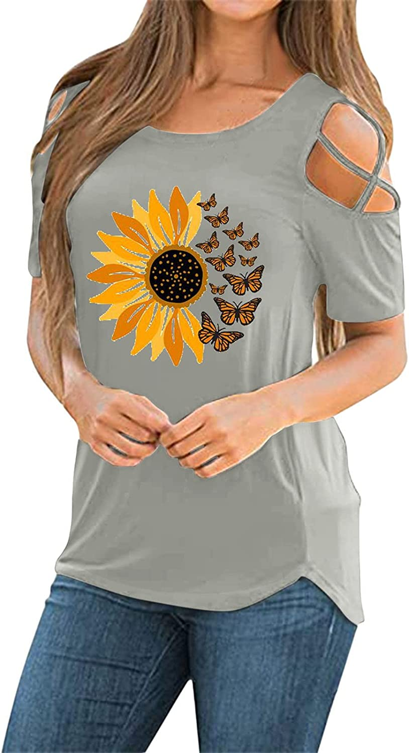 Dealing full price reduction LIUguoo T Shirt for Reservation Women Shor Shoulder Tops Cold Cute