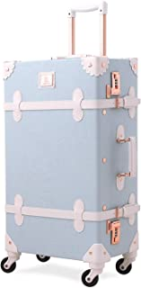 Unitravel Retro Luggage 24 inch Vintage PU Leather Trolley Cabin Case with Spinner Wheels (Light Blue)