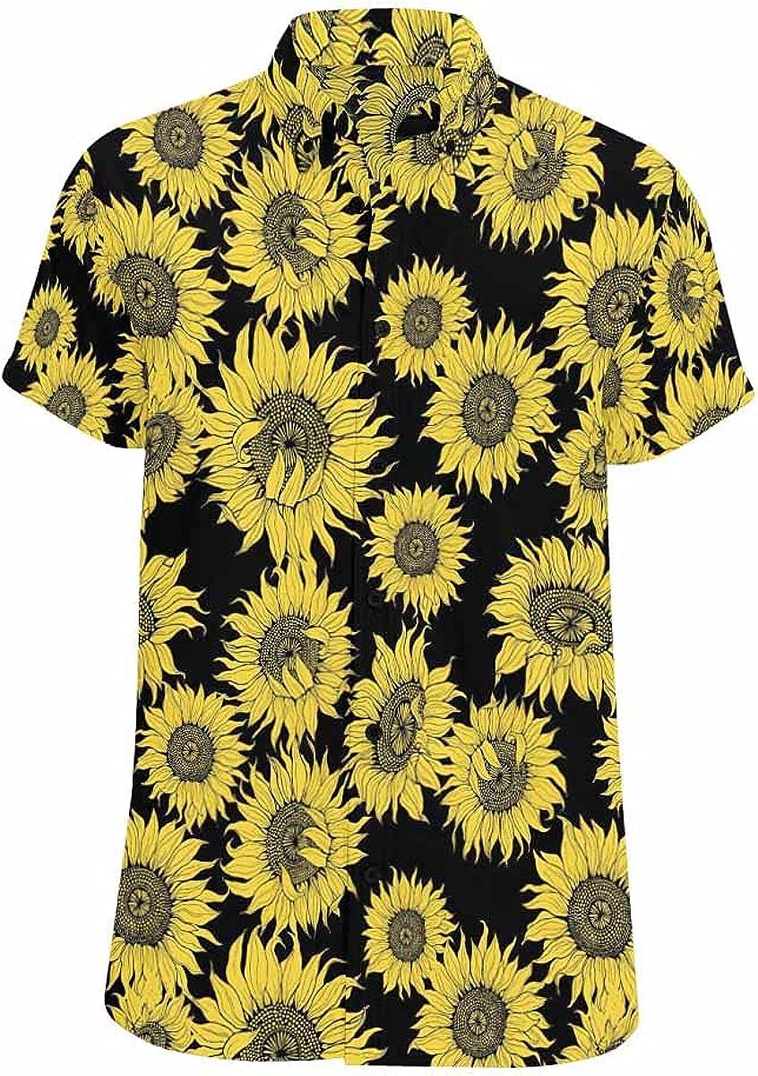 InterestPrint Gold Mermaid All Places Printed Summer Hawaiian Relax Casual Shirt for Men