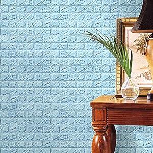 OHQ Espuma PE 3D pegatinas de pared Fondo de pantalla de bricolaje pared pegatinas decoración de la pared de ladrillo de piedra en relieve 60 X 30 X 0.8 cm Azul#2