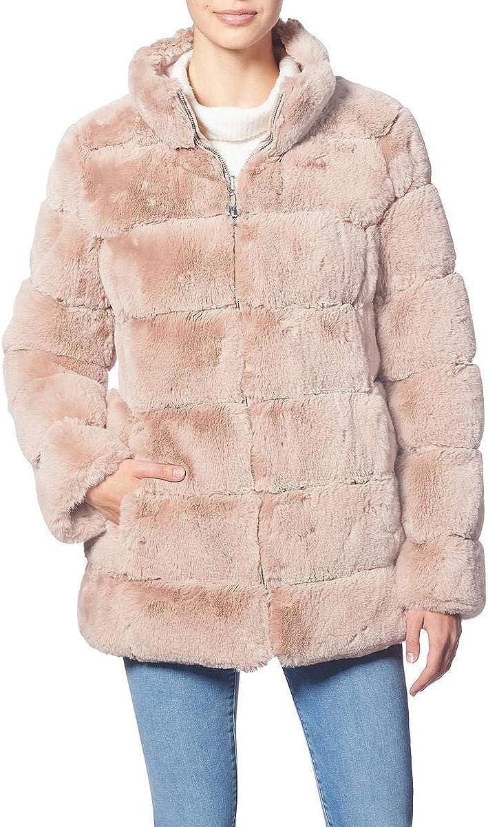 Via Spiga Womens Quilted Reversible Faux Fur Coat Pink M