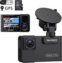 AKASO Trace 1 Pro Dual Lens Car Dash Camera, 2K Dash Cam WiFi with Phone App External GPS Front and Inside Lens with Sony STARVIS Dual Record 1080p30 340� Coverage Included 32GB Card Fatigue Reminder