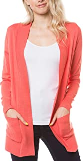 MAYSIX APPAREL Long Sleeve Knit Sweater Open Front Cardigan W/Pocket for Women (S-3X, 7size)
