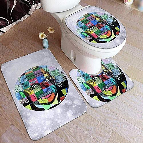 BOBO-Shop Albert Einstein In Pop Art Badezimmermatten-Sets 3-teiliges Set Teppiche/Streichhölzer WC-Sitzbezug Badematten-Deckelbezug