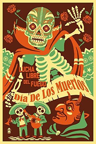Dia de Los Muertos–Lucha Libre Del Fuego Poster, Papier, multi, 12 x 18 Art Print