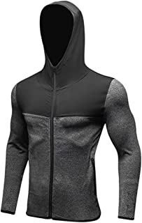 QCHENG Men's Hooded Sports Training Coat Quick Dry Long Sleeve Zip Workout Athletic Jacket Grey M=Tag L