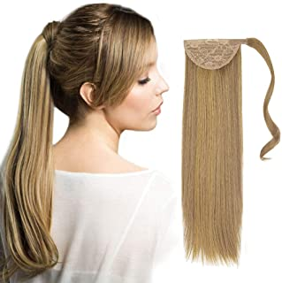 Remeehi Remy Human Hair Straight Wrap Around Ponytail Extensions Clip In/On Pony Tails For Women 18Inch (100G 10# Medium Golden Brown)