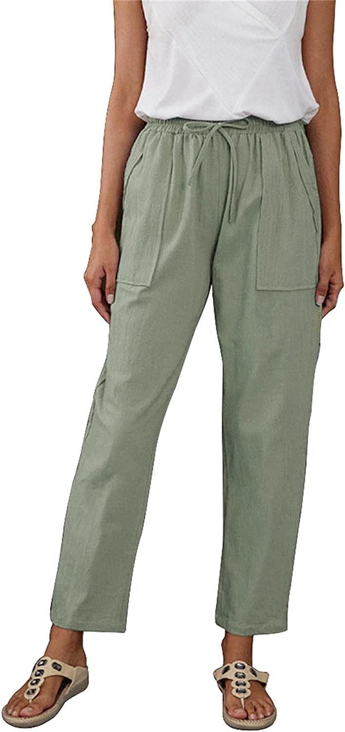 Women's Cotton Linen Pants Casual Drawstring Loose Elastic Waist Beach Trousers with Pockets