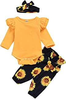 Toddler Baby Girls Clothing Outfits Long Sleeve Ruffle Shirts+Floral Pants+Headband Clothes Set