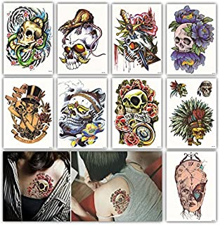 DevilFace Large Temporary tattoos for Men Women, 9 Sheets Fake Tattoo (Sugar Skull)