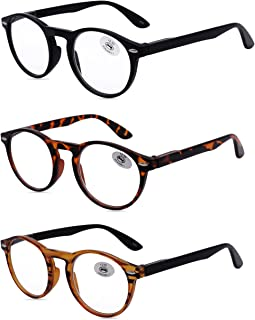Amillet Reading Glasses 3 Pack for Men and Women,Retro Round Spring Hinges Frame Readers,3 Colors with Gift Packing,Glasses for Reading +3.00