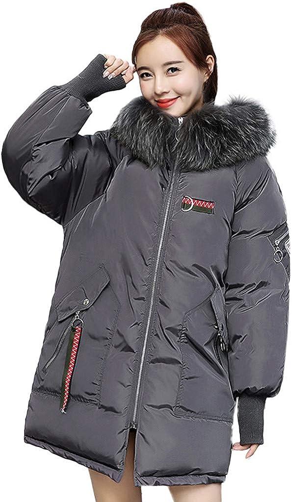 TIMEMEANS Coats Jackets for Women Winter Warm Coat Faux Fur Hooded Thick Warm Slim Jacket Long Overcoat