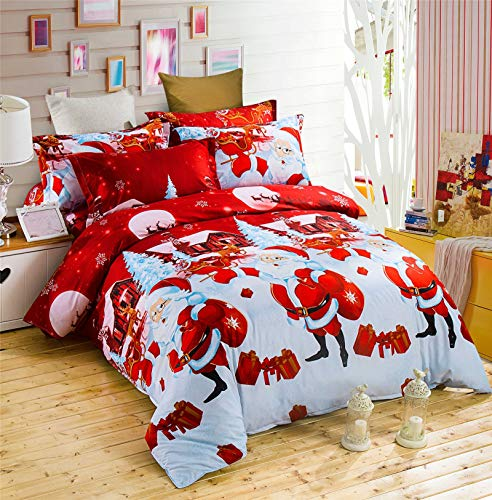 RENXR Father Christmas Quilt Duvet Cover And Pillowcase Bedding Bed Set Kids Xmas Bedding Set Print Duvet Cover Multi-Colour,Full