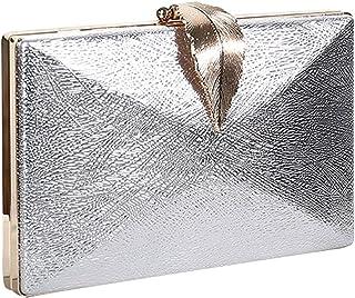 Generic Damen Kunstleder Glänzende Abendtasche Leaf Lock Clutch Bankett Umhängetasche Silber