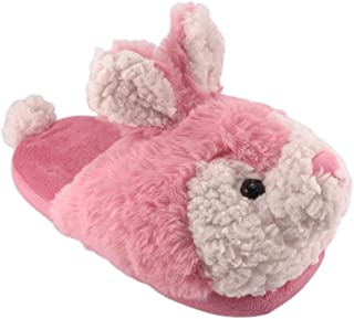 Wonder Nation Girls' Pink Fuzzy Bunny Scuff Slippers