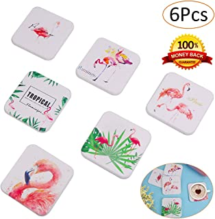 Square Coasters for Drinks Absorbent, 6 Pieces Drink Coasters for Tabletop Protection, 3.9 Inches No Holder Bar Coaster for Heat Insulation, Water Absorption, Living Room Decorations (Flamingo)