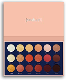 18 Super Pigmented - Top Influencer Professional Eyeshadow Palette all finishes, 5 Matte + 9 Shimmer + 4 Duochrome - Buttery Soft, Creamy Texture, Blendable, (Candy Peaches)