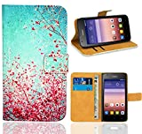 Huawei Ascend Y550 Handy Tasche, FoneExpert Wallet Hülle Flip Cover Hüllen Etui Ledertasche Lederhülle Premium Schutzhülle für Huawei Ascend Y550