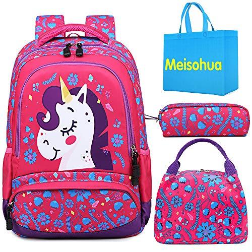 Unicorn School Backpack for Girls Lightweight School Book Bag for Kids...
