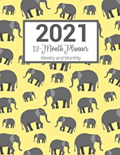 2021 Weekly and Monthly 12-Month Planner: Yellow Elephant Pattern Agenda