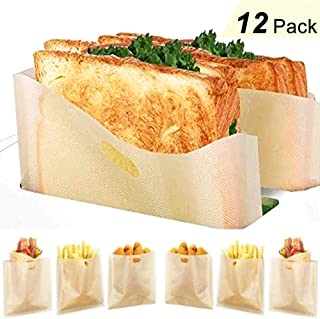 12 Pack Toaster Bags Reusable - Yokgrass 3 Sizes Nonstick Toast Bags for Heat Resistant - Perfect for Grilled Cheese Sandwiches, Chicken, Pizza, Pastries, Panini