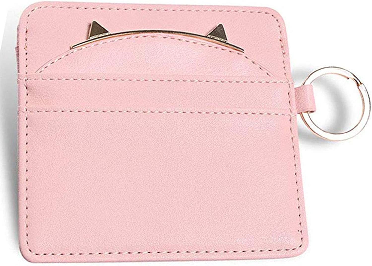 Small Credit Card Holder for Women with Keychain Pink Cat Ear Leather Coin Purses Card Holders Girls Key Chain Wallet
