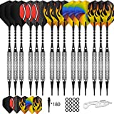 CyeeLife 15 Packs Soft tip Darts Set 18g,100 Extra Tips+Dart Tool+15 Aluminum shafts+20 Flights(5 Designs,Standard&Slim),Professional Plastic tip Darts for Electronic Dart Board-Sliver