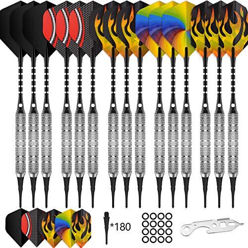 CyeeLife 15 Packs Soft tip Darts Set 18g,100 Extra Tips+Dart Tool+15 Aluminium shafts+20 Flights,Professional Plastic tip Darts for Electronic Dart Board-Sliver