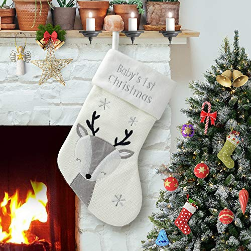 PIKRONSH Christmas Stocking, Newborn Baby 1st Xmas Sock Holiday Decoration (White Deer)