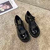 CTDMMJ Zapatos Individuales de Punta Redonda para Mujer, Zapatos Mary Jane para Aumentar la...