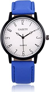 naivo Quartz Stainless Steel and Gold Plated Watch, Color:Blue (Model: 1)