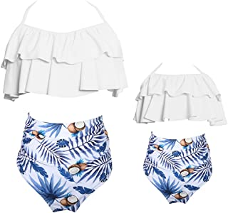 Vanbuy Mommy and Me Swimsuits Flounce High Waisted Family Matching Swimwear Womens Girls Floral Print Bikini Set