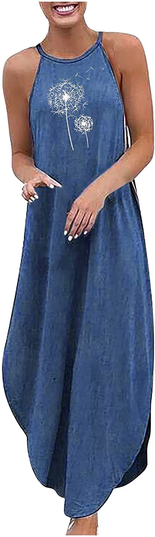 Maxi Dress Women's Loose Plus Size Denim Sleeveless Halterneck Print Vest Long Dress Maxi Skirt Boho Floral Elegant