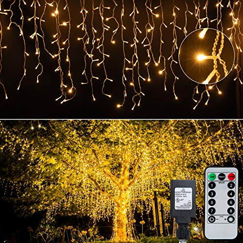 Led Icicle Christmas Lights Outdoor, 19.6 Feet 54 Drops with 306 Led, 8 Modes Waterproof Connectable Twinkle Fairy String Light for Thanksgiving Hanging Icicles (Warm White)